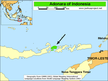 Map of Adonara in Indonesia