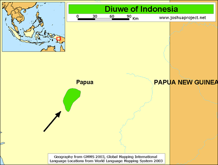 Map of Diuwe in Indonesia