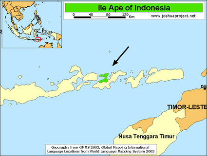 Map of Ile Ape in Indonesia