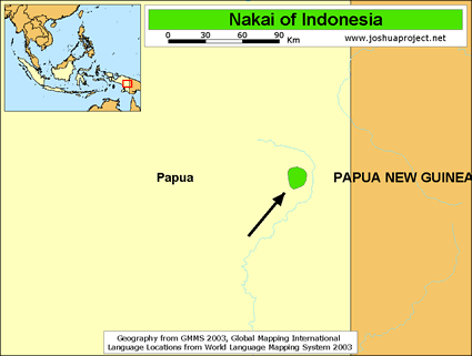 Map of Nakai in Indonesia