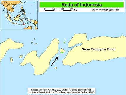 Map of Retta in Indonesia