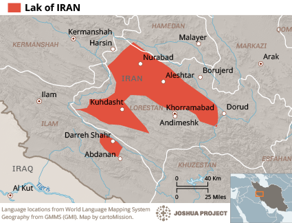 Map of Laki in Iran