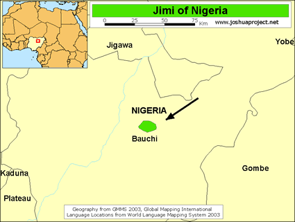 Map of Jimi, Bi-Gimu in Nigeria