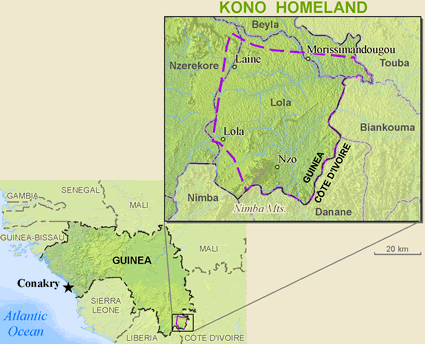 Map of Kono in Guinea