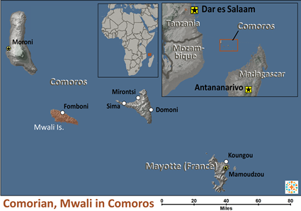 Map of Comorian, Mwali in Comoros
