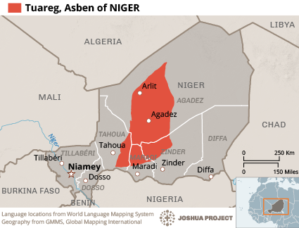 Map of Tuareg, Asben in Niger