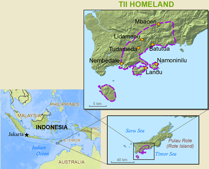 Map of Rotinese, Tii in Indonesia