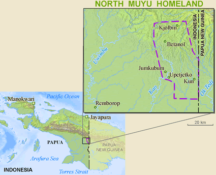 Map of Muyu, North in Indonesia