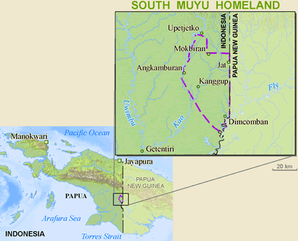 Map of Muyu, South in Indonesia