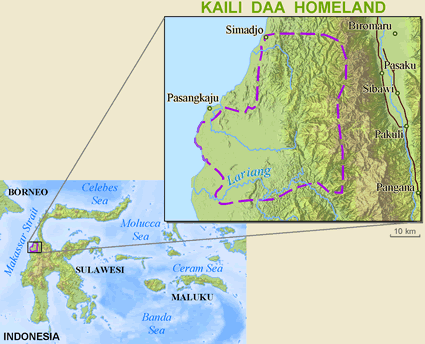 Map of Kaili Unde, Daa in Indonesia