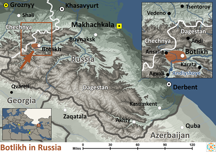Map of Botlikh in Russia