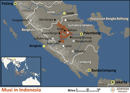 Map of Musi in Indonesia