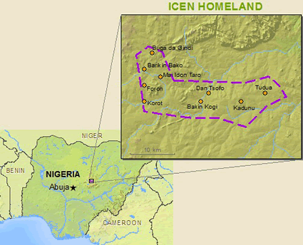 Map of Icen in Nigeria