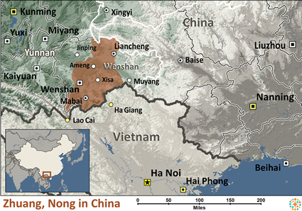 Map of Zhuang, Nong in China
