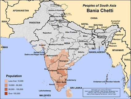 Map of Bania Chetti in Sri Lanka