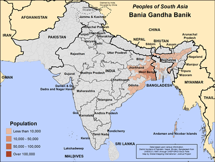 Map of Bania Gandha Banik in India