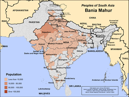 Map of Bania Mahur in India