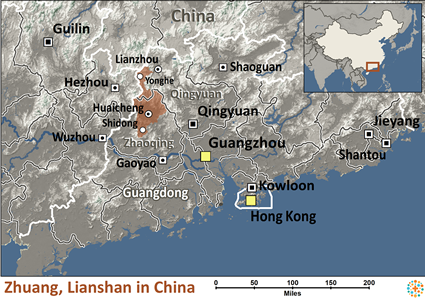 Map of Zhuang, Lianshan in China