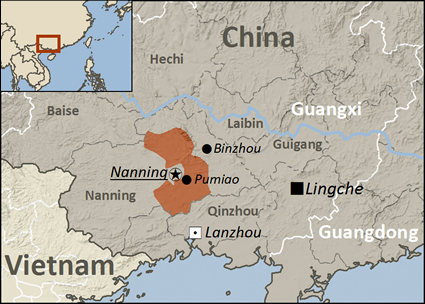 Map of Zhuang, Yongbei in China