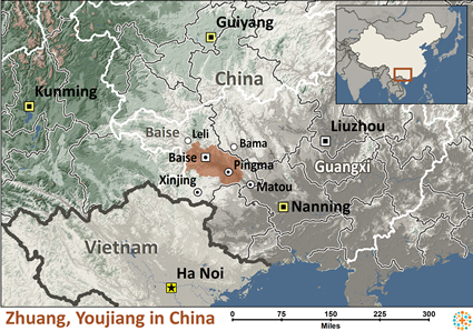Map of Zhuang, Youjiang in China