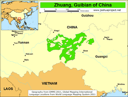 Map of Zhuang, Guibian in China