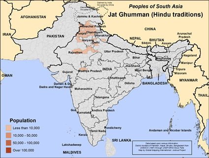 Map of Jat Ghumman (Hindu traditions) in India