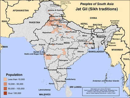 Map of Jat Gil (Sikh traditions) in India
