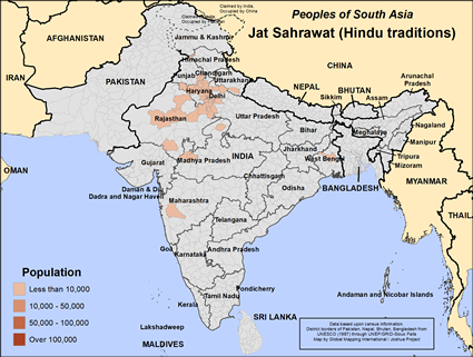 Map of Jat Sahrawat (Hindu traditions) in India