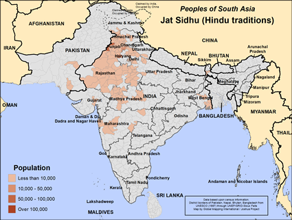 Map of Jat Sidhu (Hindu traditions) in Pakistan