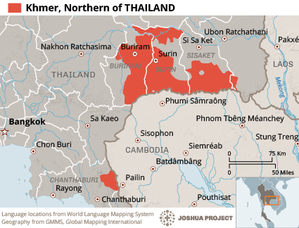 Map of Khmer, Northern in Thailand