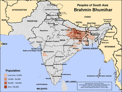 Map of Brahmin Bhumihar in Bangladesh
