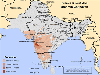 Map of Brahmin Chitpavan in India