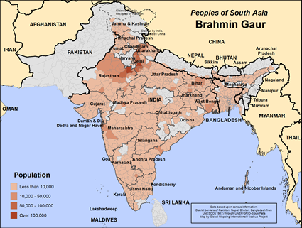 Map of Brahmin Gaur in Bangladesh