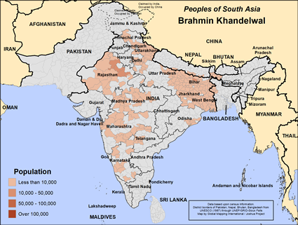 Map of Brahmin Khandelwal in Nepal