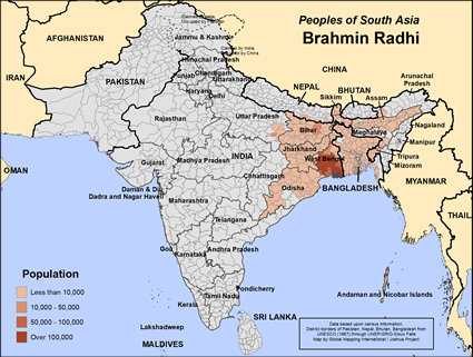 Map of Brahmin Radhi in Bangladesh