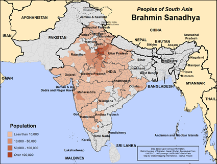 Map of Brahmin Sanadhya in India