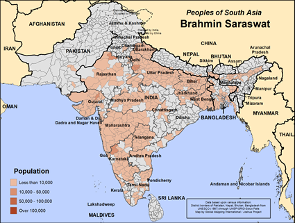 Map of Brahmin Saraswat in India