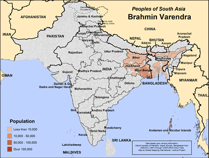 Map of Brahmin Varendra in Bangladesh