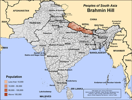 Map of Brahmin Hill in Nepal