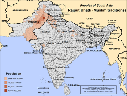 Map of Rajput Bhatti (Muslim traditions) in Pakistan