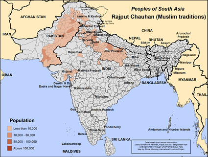 Map of Rajput Chauhan (Muslim traditions) in India
