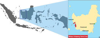 Map of Malay, Ketapang in Indonesia