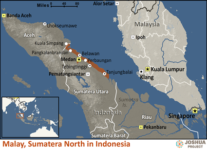 Map of Malay, Sumatera North in Indonesia
