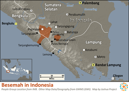 Map of Besemah in Indonesia