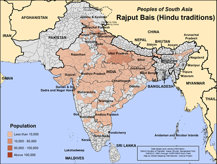 Map of Rajput Bais (Hindu traditions) in India