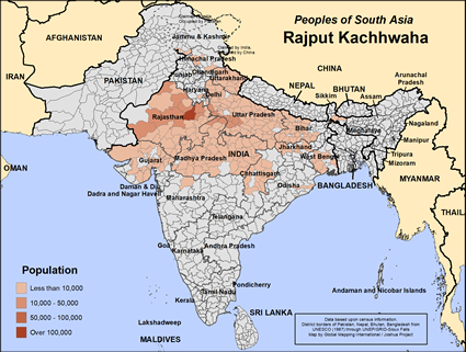 Map of Rajput Kachhwaha in India