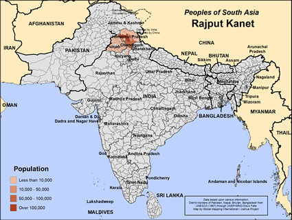 Map of Rajput Kanet in India