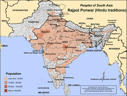 Map of Rajput Ponwar (Hindu traditions) in India