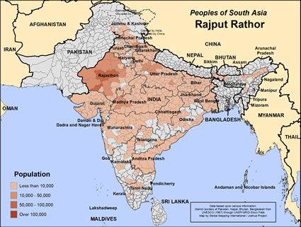 Map of Rajput Rathor in India