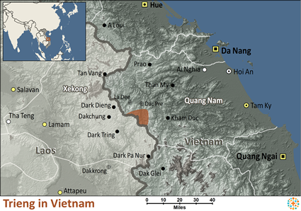 Map of Trieng in Vietnam